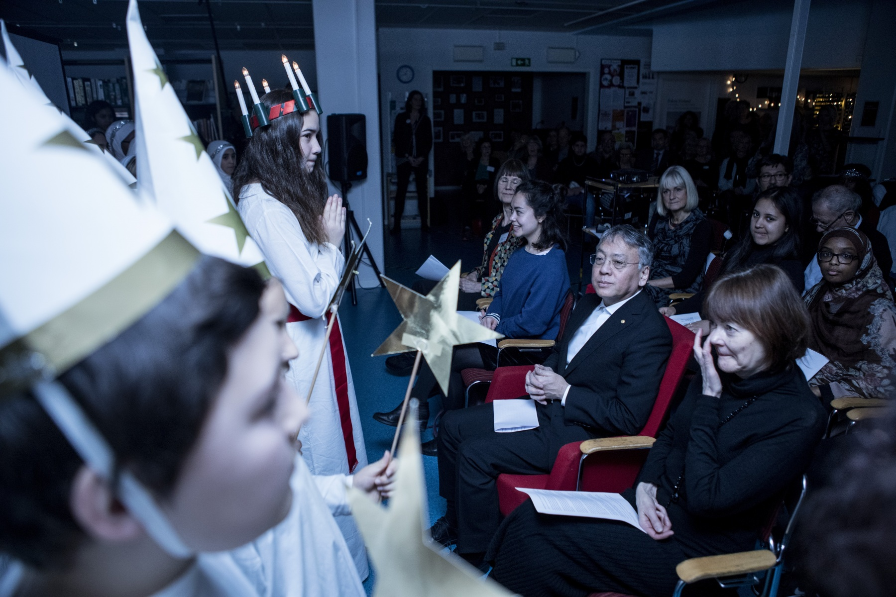 The Nobel prize winner in literaturein 2017,  Kazuo Ishiguro visits a school in Stockholm.