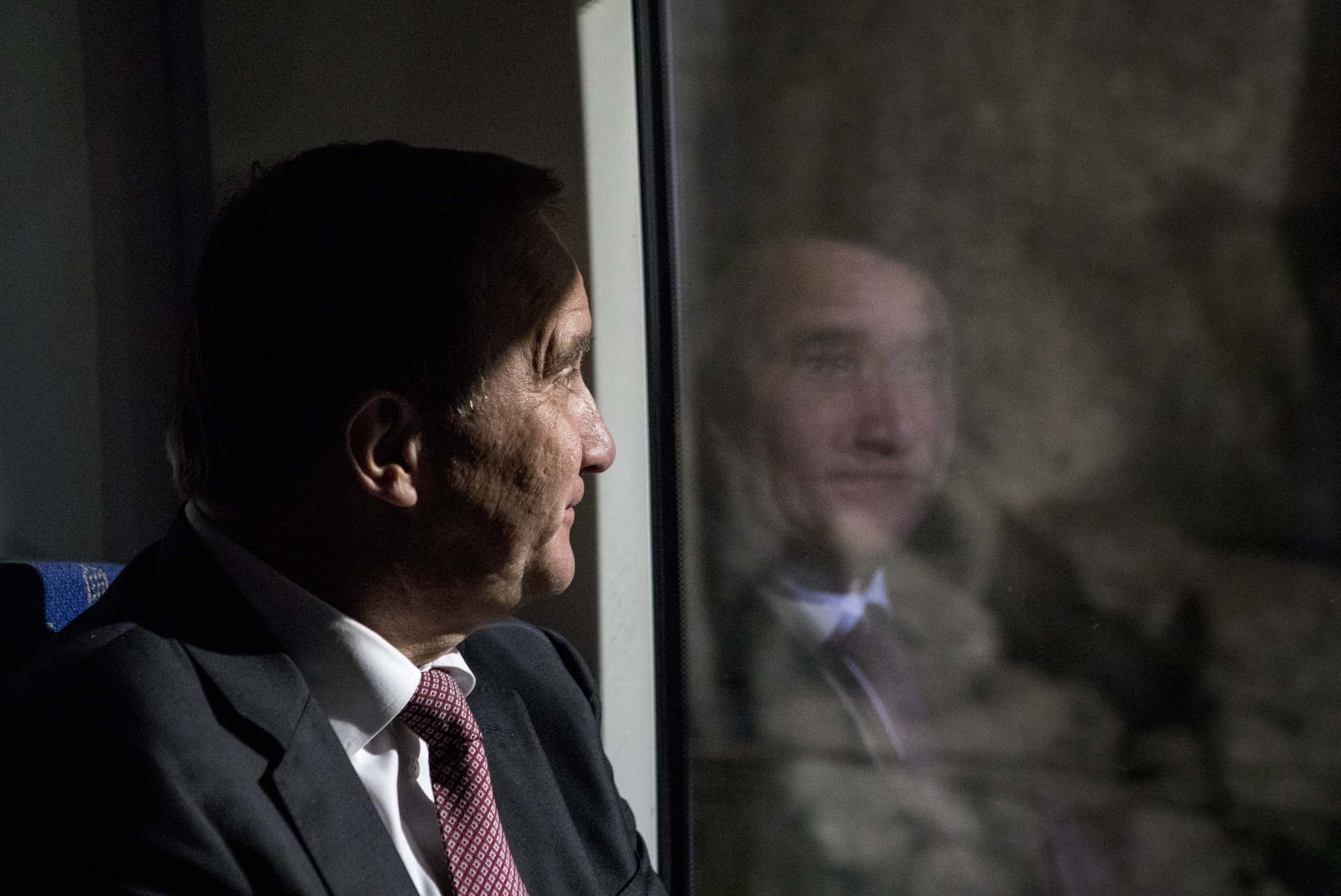 Swedish Prime Minister Stefan Löfven on a train in 2017