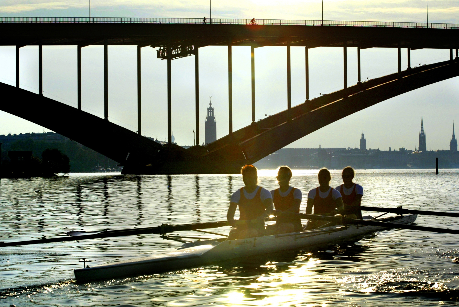 Rowing early in the morning in Stockholm