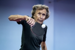 Gunvor, 96 years old,  plays table tennis